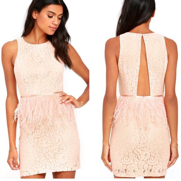 5d78eaedfc0e Lulu's Dresses | Lulus Blush Pink Feather Lace Fancy Dance Dress L ...